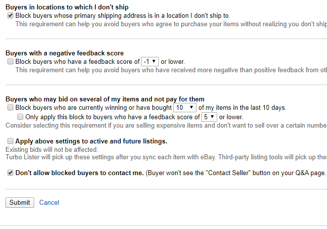 blocking buyers on ebay