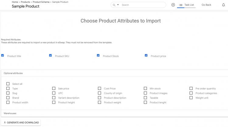 eSwap product attributes