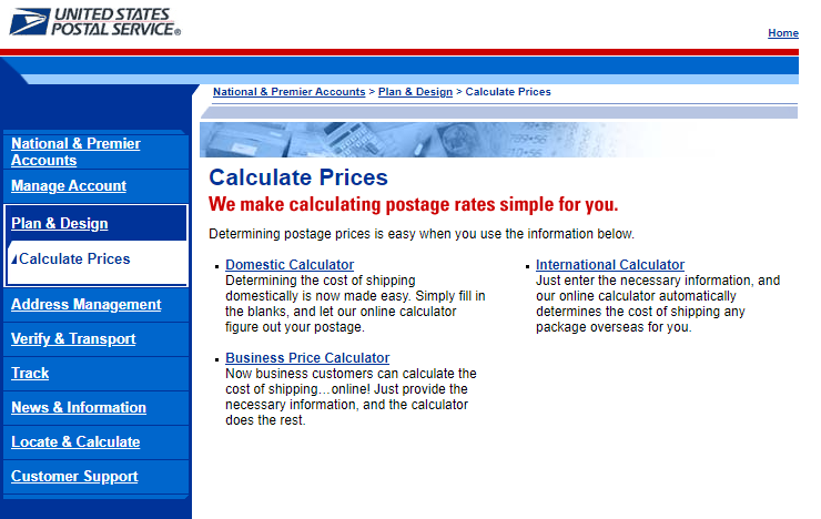 USPS shipping costs calculator