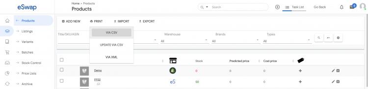 eswap import product via CSV